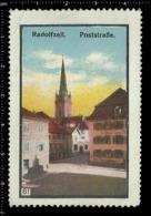 German Poster Stamp Cinderella Vignette Erinoffilo Reklamemarke, Radolfzell Germany, Post Road, Church, Kirche. - Vignetten (Erinnophilie)