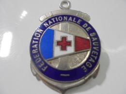 INSIGNE DE LA FEDERATION NATIONALE DU SAUVETAGE EN EMAIL GRAND FEU - Frankrijk