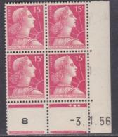 France N° 1011 XX Marianne De Muller : 15 F. Rose Carminé En Bloc De 4 Coin Daté Du 3 . 1 . 56;  3 Pts Blancs  Ss Ch TB - Coins Datés