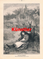 1592 W. Leo Arndt Ostern Osterhase Mädchen Dorf Druck 1897 !! - Gegraveerde Prenten