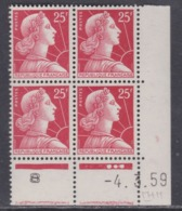 France N° 1011c XX  Marianne De Muller :  25 F. Rouge En Bloc De 4 Coin Daté Du 4 . 3 . 59 ; 3 Pts  Blancs  Ss Charn. TB - Coins Datés