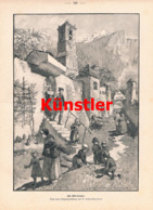 1593 A. Schmidhammer Ostermorgen Ostern Kinder Dorf Druck 1897 !! - Gegraveerde Prenten
