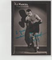 .BOXING.BOKSEN. PHOTO. Lansival   BOXEUR KID MARCEL  MANAG. G. DUMORTIER   SIGNEE. AUTOGRAPHE 1949 - Boxing
