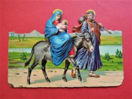 RARE Grand DECOUPI  CHROMO.  Vers 1900. Gaufré.  16  X  11  Cm.  Fuite D'Egypte. Marie Jesus Joseph. Âne. Nil. Pyramide - Découpis