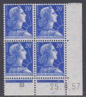 France N° 1011B XX  Marianne De Muller :  20 F. Bleu En Bloc De 4 Coin Daté Du 25 . 6 . 57  1 Pt Blanc Sans Charnière TB - Coins Datés