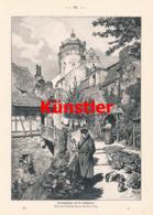 1608 Paul Hey Sonntagmorgen Leute Stadtmauer Druck 1899 !! - Estampes