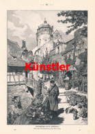 1608 Paul Hey Sonntagmorgen Leute Stadtmauer Druck 1899 !! - Prints