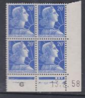 France N° 1011B XX  Marianne De Muller :  20 F. Bleu En Bloc De 4 Coin Daté Du 13 . 8 . 58  3 Pts Blancs Ss Charnière TB - Coins Datés