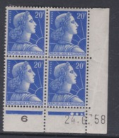France N° 1011B XX  Marianne De Muller :  20 F. Bleu En Bloc De 4 Coin Daté Du 24 . 6 . 58  3 Pts Blancs Ss Charnière TB - Coins Datés