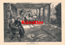 1614 Paul Hey Oktobersonne Alte Leute Hund Veranda Druck 1900 !! - Estampes