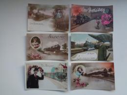 Beau Lot De 20 Cartes Postales De Fantaisie  Train Souvenir   Mooi Lot 20 Postkaarten Van Fantasie  Trein  -  20 Scans - 5 - 99 Cartes