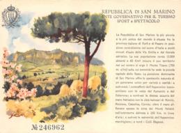 SAINT-MARIN  Republica Di San Marino Ente Governativo Peril Turismo Sport E Spettacolo - Billet D'Entrée ?  Illustrateur - Saint-Marin