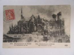 Timbre Semeuse Croix-Rouge 10+5c YT N°147 Seul Sur CPA Bombardement De Reims (Guerre 14-18) - 20/10/1914 - Guerra De 1914-18