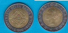 Italien 500 Lire C/Al-N-Bro Jahrgang 1993 100 Jahre Zentralbank Schön Nr.159 KM 160 (D2/40) - Gedenkmünzen