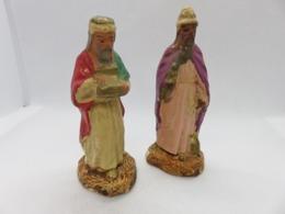 531 - Anciens Santons De Crèche Noel  - Rois Mages (Gaspard/Melchior) - Devineau - Santons