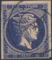 GREECE - 1863/80, Mi 21, 20 Lept, Large Hermes - 1861-86 Grands Hermes