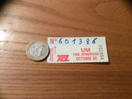 Ticket De Transport (Bus, Métro, Tramway) TCL Abonnement «OCTOBRE 90 -UM FAM. NOMBREUSE» LYON (69) - Autobus
