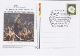 Germany Postal Stationary Sporthilfe-Ganzsache Nr. 139 Germany Handball Champions Used Köln 2007 - Balonmano