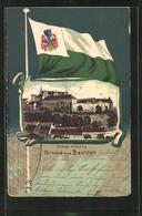 Passepartout-Lithographie Bautzen, Schloss Ortenburg, Fahne Und Wappen - Cartes Postales