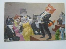"""D169391 Arthur THIELE - Illustrateur - Chats Humanisés - """" Le Ténor """" Chant Piano - Chat Cat Cats Kaze - Série 1012 - Thiele, Arthur"""
