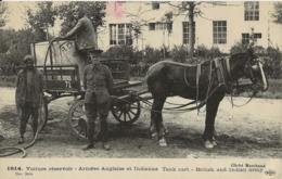 2 Cartes Voiture Réservoir, Arrivée Des Blessés à Amiens  Armée Anglaise 1915 - Guerre 1914-18