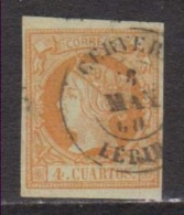 Año 1860 Edifil 52 Sello 4c Isabel II Matasellos Cervera Lerida Tipo II - Gebruikt