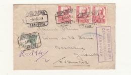 Espagne     Enveloppe  1939  Vers La France  Censure  Cachet  Zaragoza - Republikanische Zensur