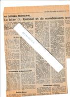 Coupures De Presse  Au Coseil Municipal De Dunkerque : Le Bilan Du Kursaal (entre Filet)...et Questions Diverses - Historische Documenten