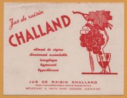 BUVARD Illustré - BLOTTING PAPER - Jus De Raisin CHALLAND - Négociant à Nuits Saint Georges - Côte D'or - Carte Assorbenti