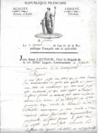 Document ARMEE D'ITALIE  Ferrare AN 6  J. A.LAUTOUR Commandant La Citadelle - Documents Historiques