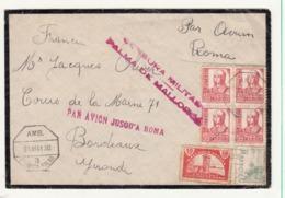 Espagne     Enveloppe  1939  Vers La France  Censure  Cachet   Palma De Mllorca - Republikeinse Censuur