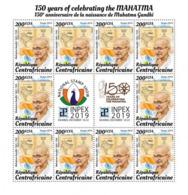 Centrafrica 2019, 150th Gandhi, Sheetlet - Geographie