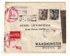 Espagne     Enveloppe  1944  Vers La France  Censure   Cachet  Barcelona - Bolli Di Censura Repubblicana