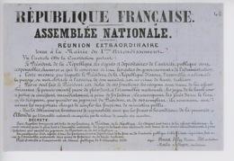 Député Députés Assemblée Nationale Coup D'état 2 Décembre 1851 Mairie Xè Arr République Française Réunion Extraordinaire - Histoire