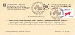 34713. Tarjeta BARCELONA 2002. HOMENAJE A SAMARANCH. Filatelia Olimpica - 1931-Hoy: 2ª República - ... Juan Carlos I