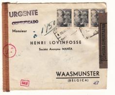 Espagne     Enveloppe  1944  Vers La France  Censure    Allemande - Bolli Di Censura Repubblicana