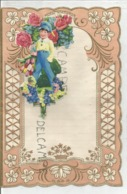 Superbe Papier à Lettre. Décor Garçon En Casquette Et Bouquet De Roses, Tulipes Et Muguets. - Vieux Papiers