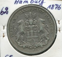 Hamburg - Kleiner Reichsadler, 5 Mark 1876, Silber 900, Ss - Sehr Schön - 2, 3 & 5 Mark Silber
