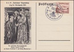 657 WHW Schiffe Schmuck-Karte Tag Der Briefmarke Passender SSt REGENSBURG 9.1.38 - Tag Der Briefmarke