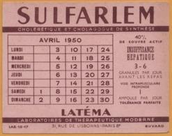 BUVARD - BLOTTING PAPER - SULFARLEM - LATEMA - Laboratoires De Thérapeutique 31, Rue De Lisbonne PARIS 8e - 1950 - Chemist's