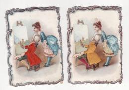 Lot De 2 Chromos Avec SATIN   Femme Et Peintre, Peinture, Tableau     11.2 X 8 Cm - Other