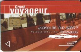 CARTE A PUCE CHIP CARD CARTE A USAGE MULTIPLES  TRANSPORT SNCF  GRAND VOYAGEUR - France