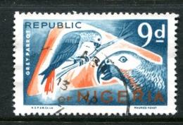 Nigeria 1969-72 Wildlife - Printers Imprint - 9d Grey Parrots Used (SG 226) - Nigeria (1961-...)