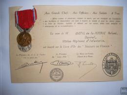 MEDAILLE DE VERDUN 1916 Et Diplome ON NE PASSE PAS CAPORAL 129 EME REGIMENT INFANTERIE - France