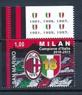 SAN MARINO Mi. Nr. 2496 AC Mailand - Italienischer Fußballmeister 2010/2011 - MNH - San Marino