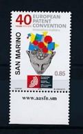 SAN MARINO Mi. Nr. 2559 40 Jahre Europäisches Patentübereinkommen - MNH - San Marino