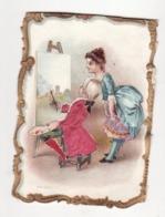 CHOCOLAT POULAIN   Chromo Avec SATIN   Femme Et Peintre   état Moyen Coupé En Haut     11 X 8 Cm - Poulain