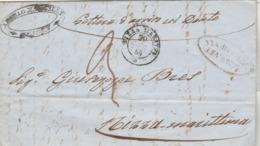 LAC De Gênes GENOVA Italie  Cachet VIA DI MARE LEVANTE + NIZZA Maritta 1856 à Nice Maritima - Posta Marittima