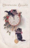 Heureuse Année  Pendules Avec 2 Chatons - Nouvel An