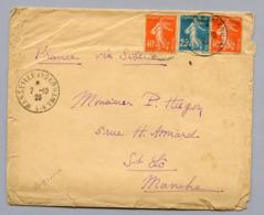 LETTRE LIGNE N°1 MARSEILLE A YOKOHAMA Du 2/10/26 PAR VOIE DE SIBERIE AFFRANCHIE SEMEUSE à 1fr05- R - Maritime Post